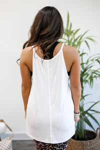 Easily Styled Ribbed Tank In White