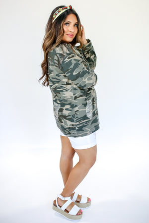 Flirty In Camo Shacket In Green