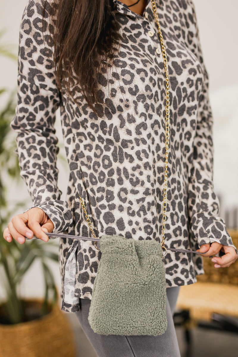 Pretty With Plans Sherpa Crossbody In Sage