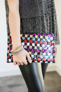 Upbeat Glam Multi Sequin Clutch