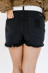 The Whitney High Waist Distressed Shorts in Black