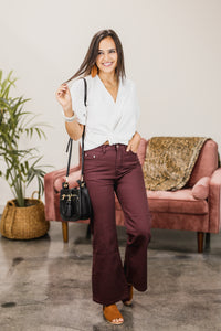The Austin Wide Leg Pants In Wine