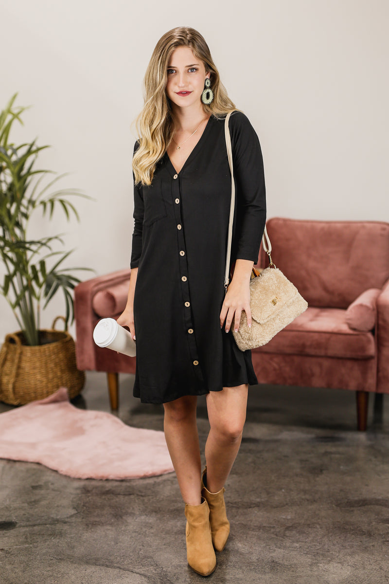 Simply Wonderful Shift Dress In Black