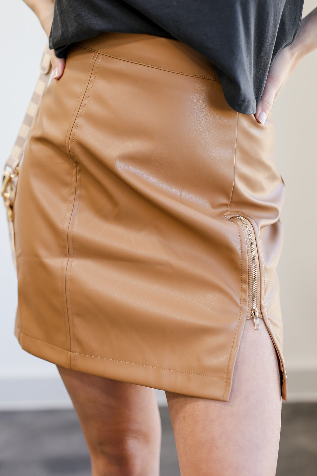 The Julia Faux Leather Skirt In Camel