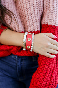 Layered Beauty Lion Bracelet in Red
