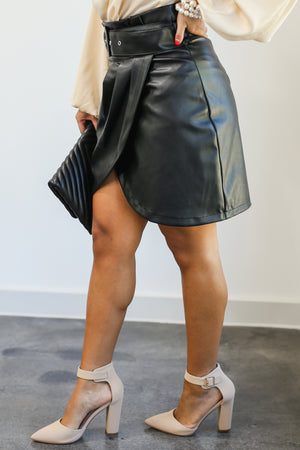 Wildest Dreams Faux Leather Skirt In Black