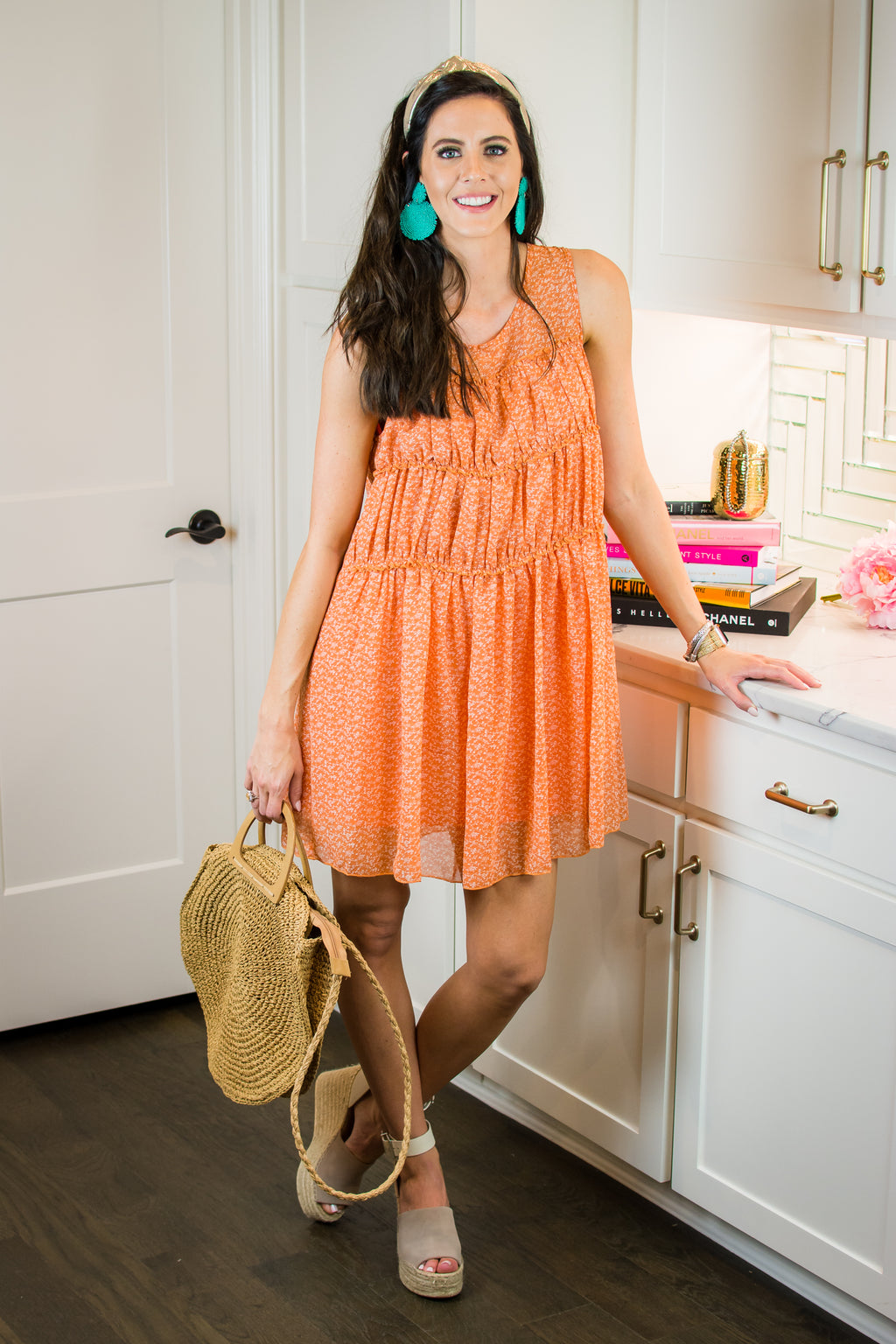 SunKist Shift Dress In Orange - Southern House