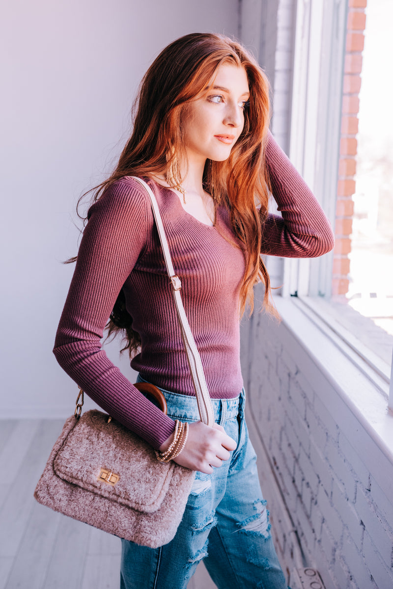 Cozy Layers Sweater In Dusty Mauve