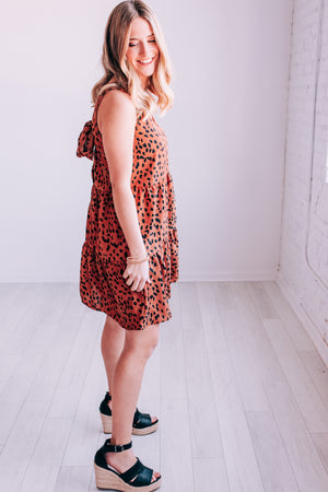 Life Of Leopard Babydoll Dress In Toffee