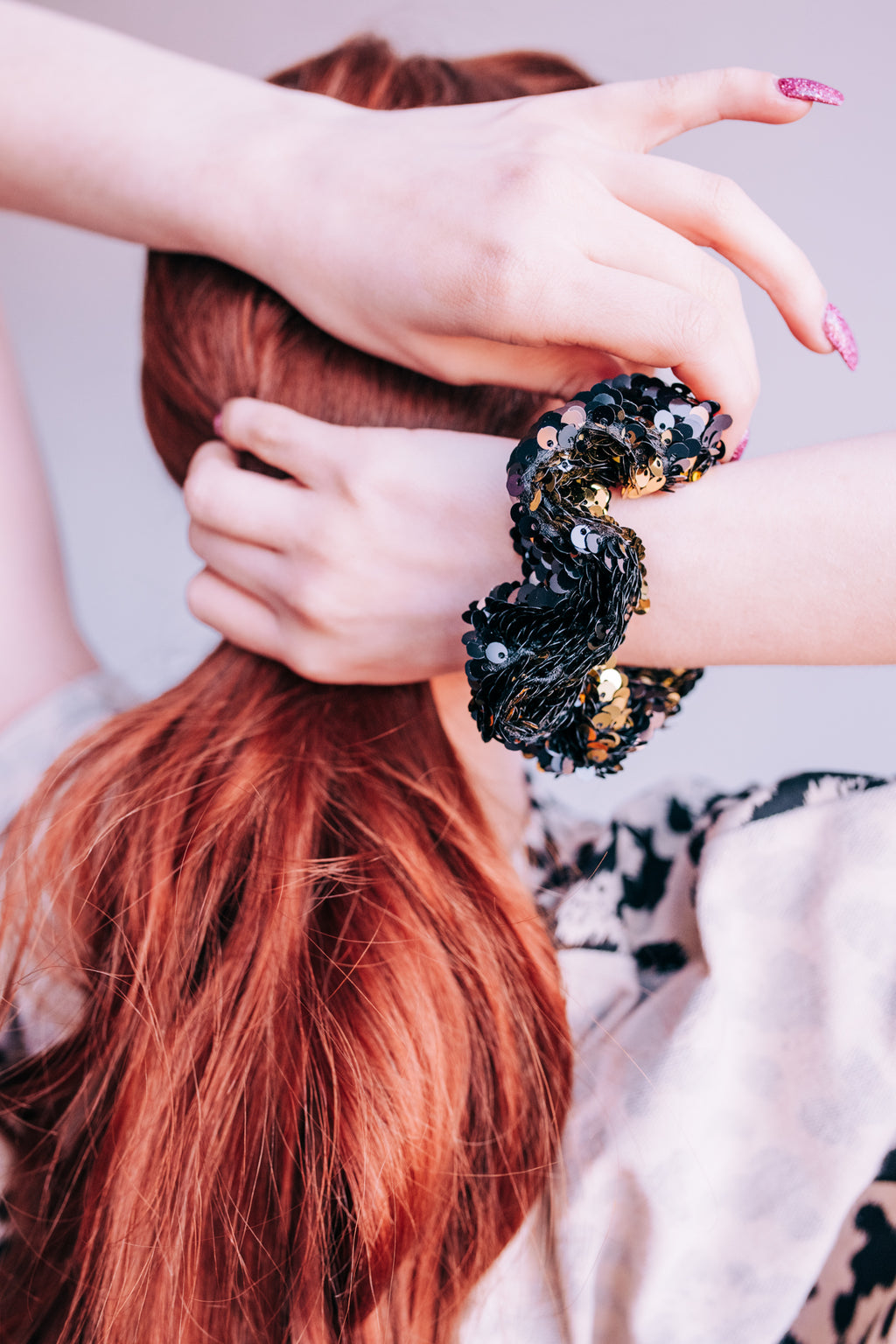 Dynamite Black Sequin Scrunchie