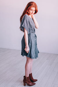 Suite Dreamin' Ruffle Swing Dress In Charcoal