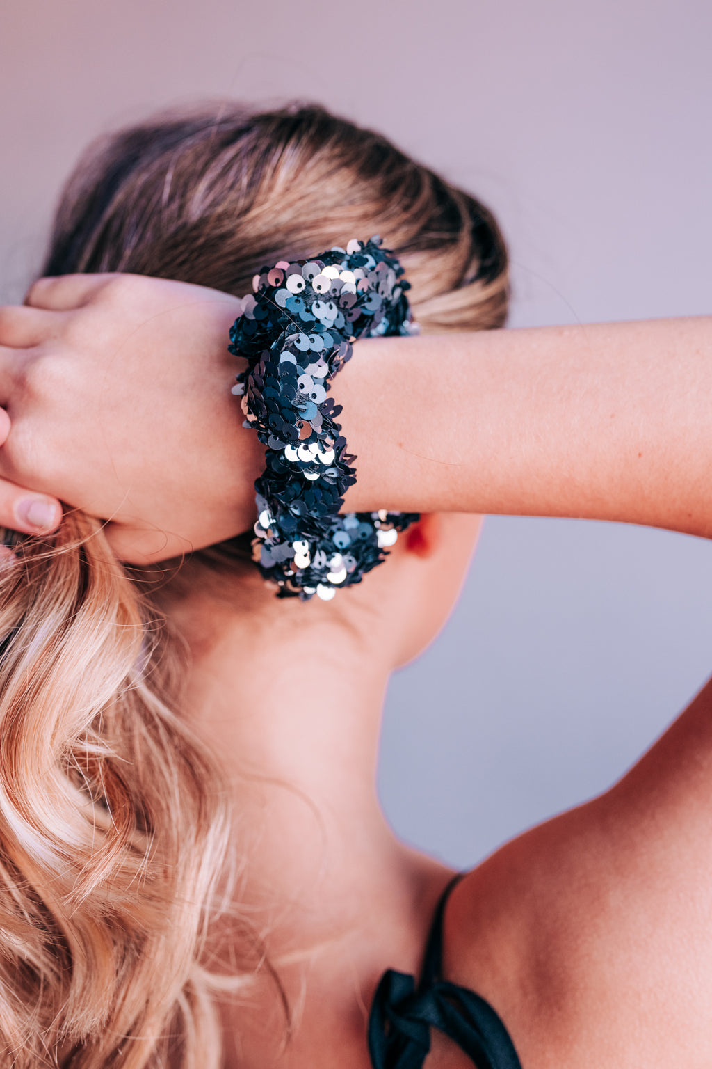 Dynamite Navy Sequin Scrunchie