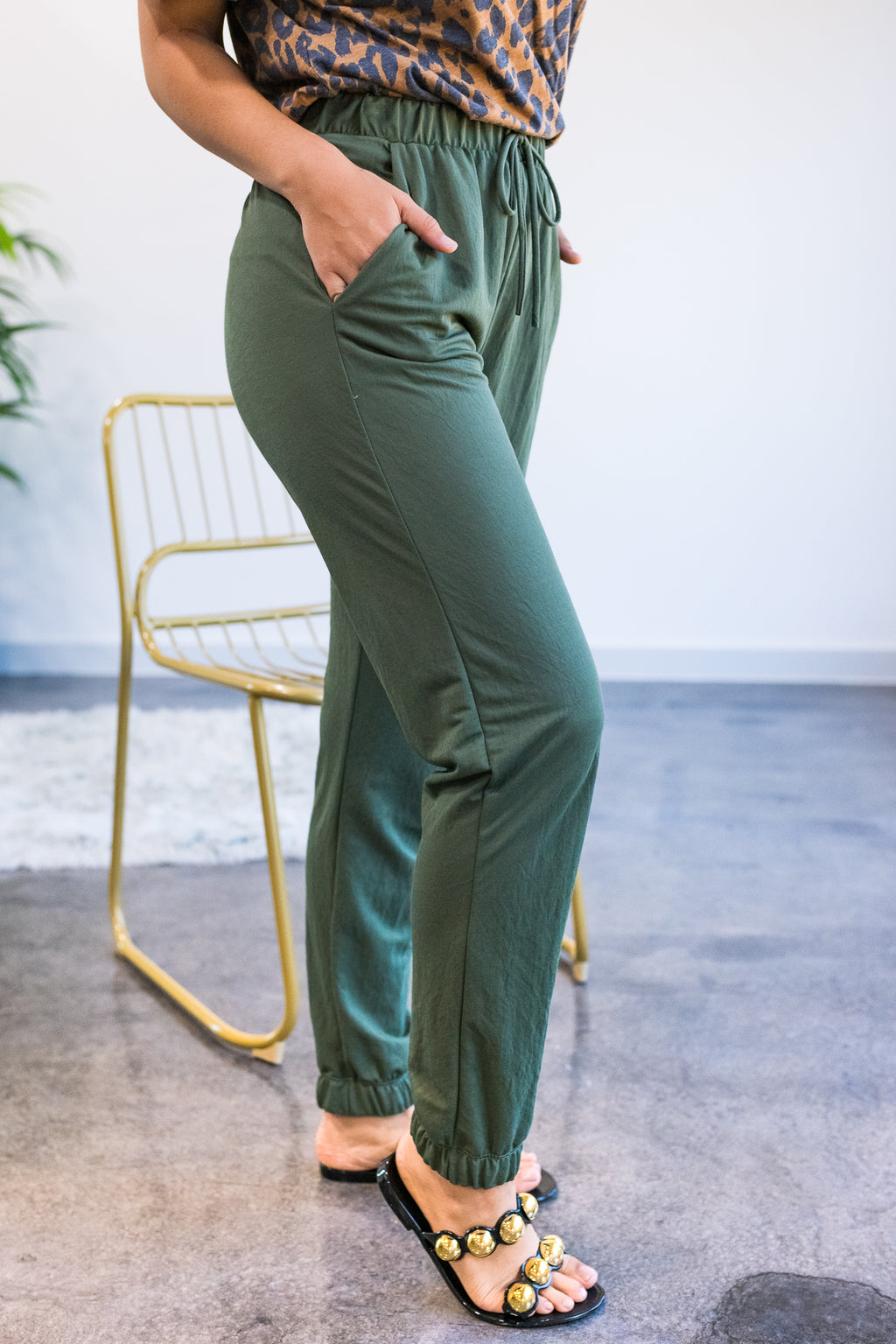 Flirty Forever Joggers In Olive