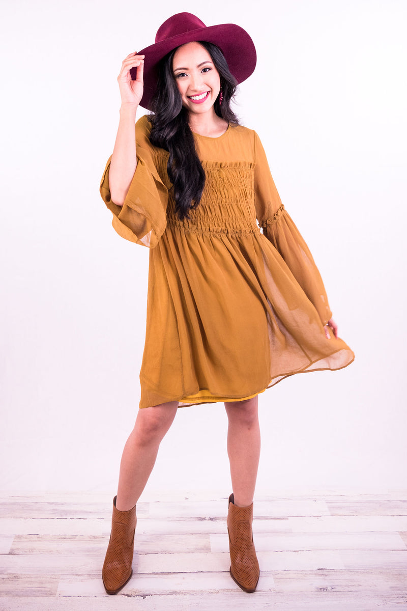 Wine Tasting Feels Shift Dress In Mustard