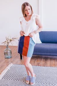 Call It Love Color Block Skirt