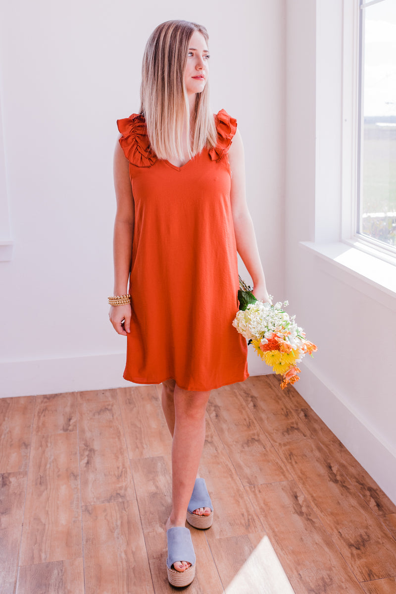 Sangria Swirls Ruffled Dress In Rust