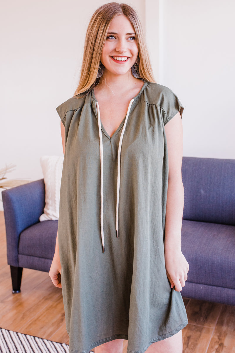 Calling All Beauties Dress In Olive