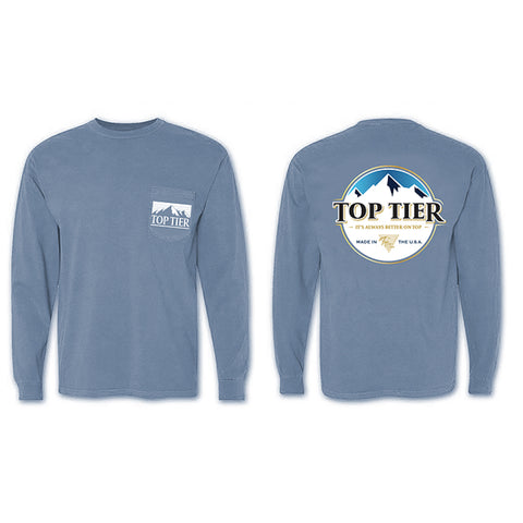 Top Tier Mountain Long Sleeve Pocket Tee