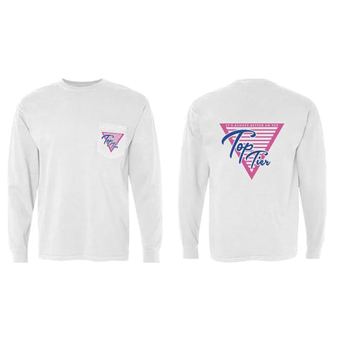 Top Tier Pink Logo Long Sleeve Pocket Tee