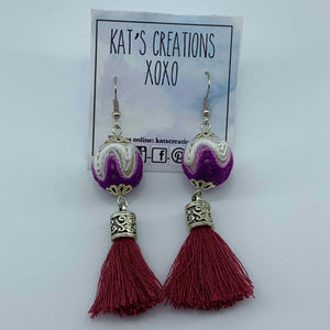 SALE Fab-Tas-Tic Dangle in burgundy, purple & white