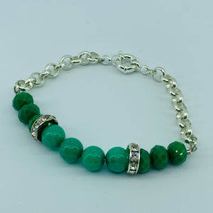 The Ombre Bracelet - Silver & Green