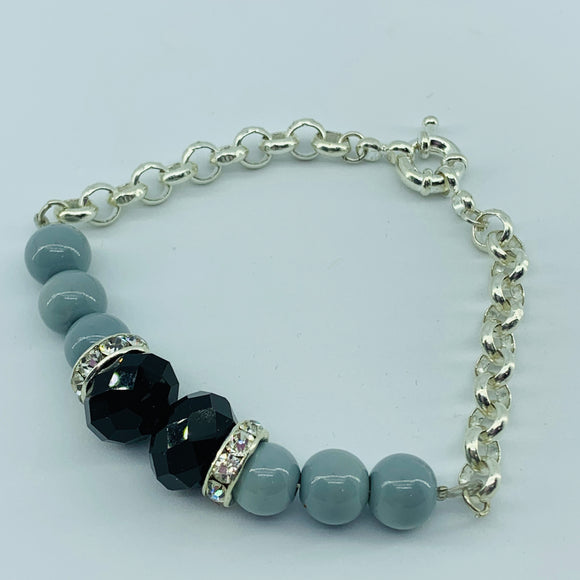 The Ombre Bracelet - Silver & Back/Grey