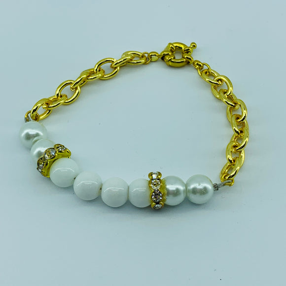 The Ombre Beacelet- Gold & White