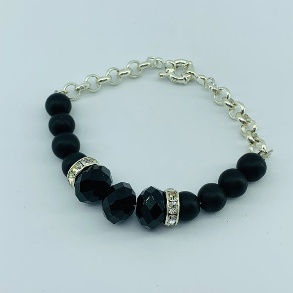 The Ombre Bracelet- Black & Silver