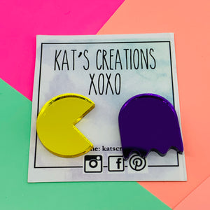 Pac-Man & Ghost Mirror statement studs
