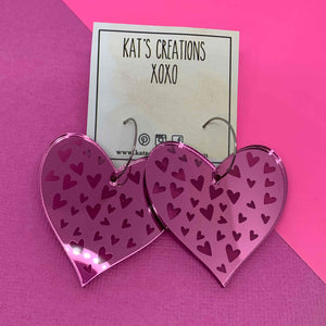 BE Mine Acrylic Hoop Heart Dangles