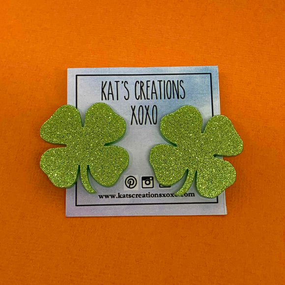 St Patrick's Day Shamrock Statement Studs