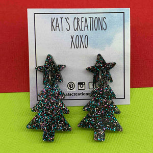 Glitter Christmas Tree Acrylic Dangles