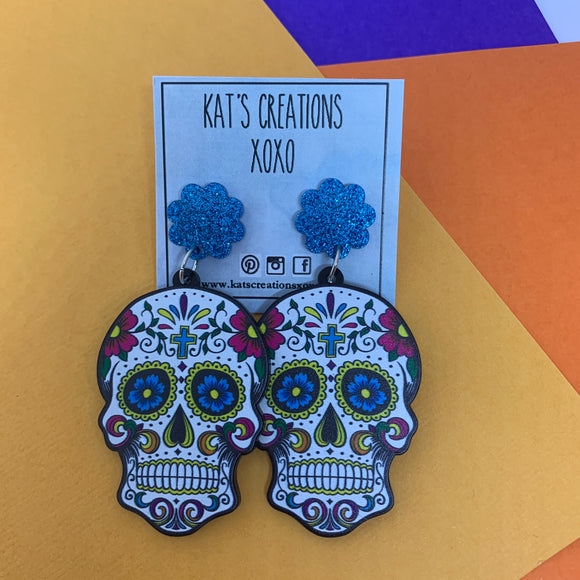 NEW Coloured Acrylic Sugar Skull Dangles