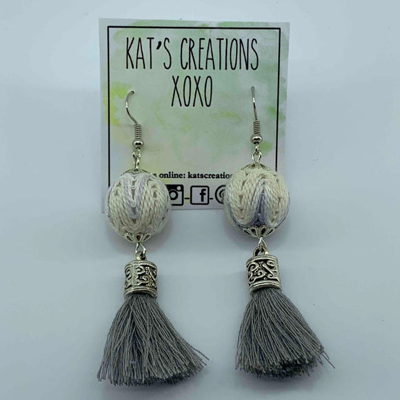 Fabric Bead & Tassel Earrings
