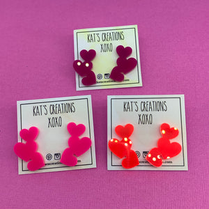 Valentines collection trio of hearts studs