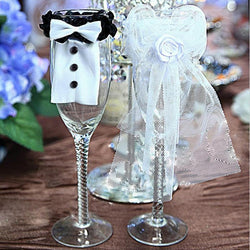 2PCS Wedding Groom Bridegroom Champagne Bottle Covers Glasses Wine Sets Plastic