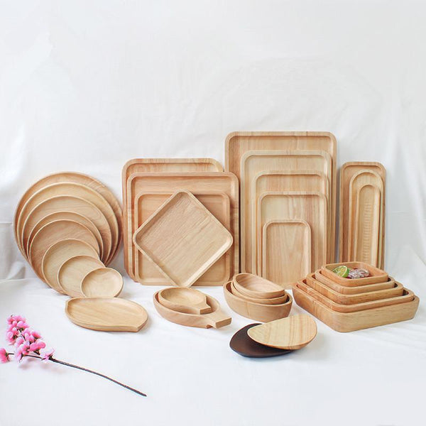 Rubber Wood Pan Plate Fruit Dishes Saucer Tea Tray Dessert Dinner Bread Wood Plate Japanese Round/Rectangle/Square/Oval Shape
