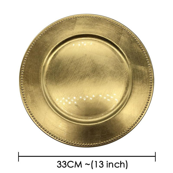 Charger Plate Wedding Party Holiday hot promotion 25 pieces Classic Charger Plates Service Dinner Gold Plastic salver