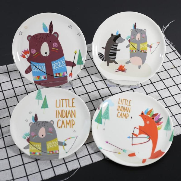 Cartoon Bear Fox Dinner Plate Snack Tableware Imitation Porcelain Tableware Dessert Dish Child Round Breakfast Plate