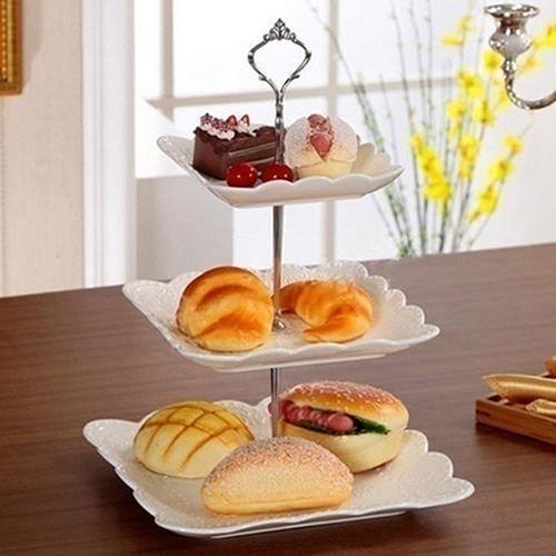 3 Tier Stainless Steel Crown Wedding Desserts Fruits Cake Plate Stand Wedding Birthday Party Cupcake Stand dinner plates set
