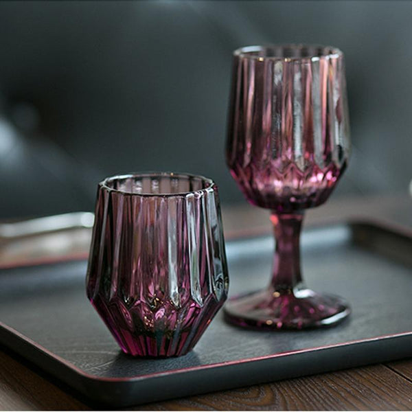 Drinkware Tea Glass Dessert Cup Weinglas Drinkglas Crystal Red Wine Goblet Glass Water Ice Engraving Glass for Juice Drinks Milk