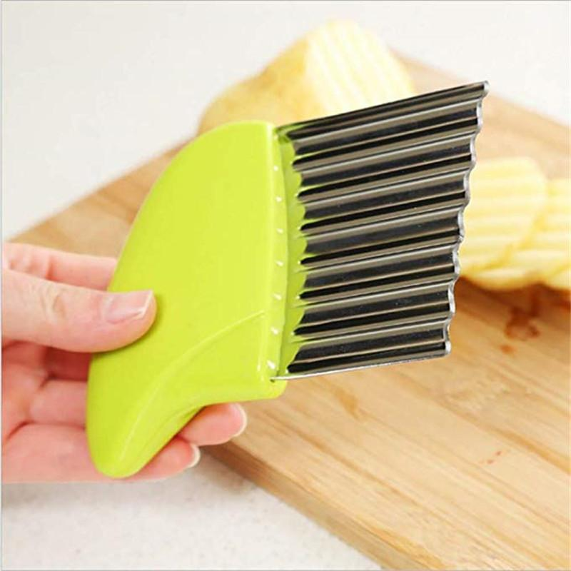 1pc French Fries Cutter Stainless Steel Potato Chips Making Peeler Cut Plastic Handle Vegetable Kitchen Knives Fruit Tool 2019