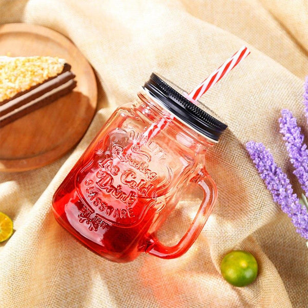 Creative Mason Jar Rooster Cup Gradient Color Glass Cup FashionBeer Juice High Boron Martini Cocktail Wine Glasses Party Decor