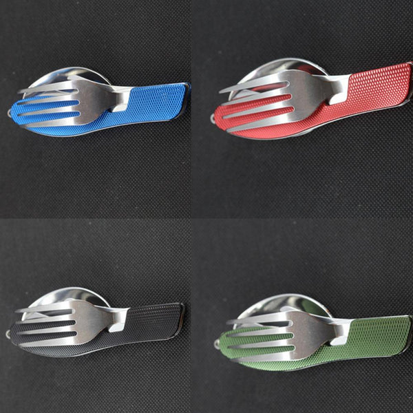 Multi-function Outdoor Camping Picnic Folding Tableware Stainless Steel Cutlery 4 in 1 Spoon Fork Knife&Bottle Opener