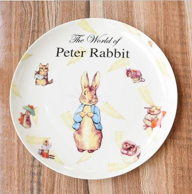 Western Creative Time Rabbit Flat Plate Fruit Plate Home Essential New Bone China Ceramic Tableware Lovely Plate Free Shipping