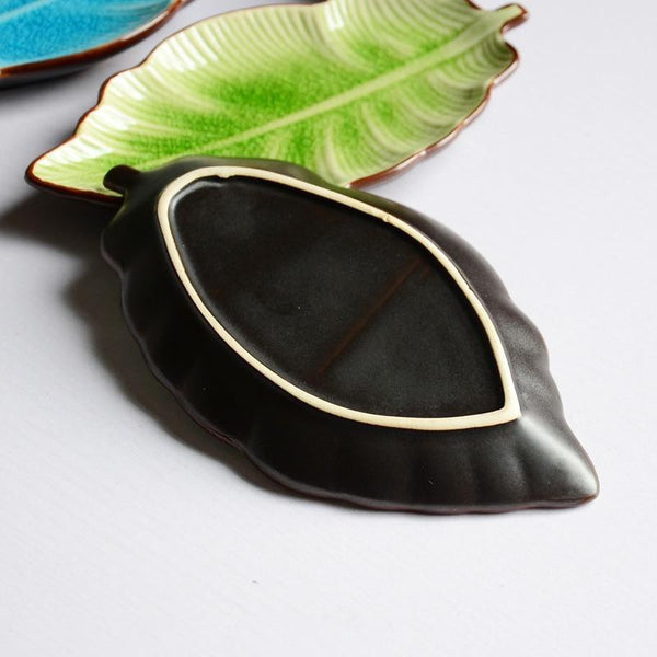 Banana leaf shape leaf dish ceramic dishes ice crack glaze lovely sushi dishes tableware small plate dish