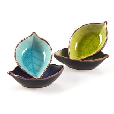 Kitchen Bowl kitchen Tool dish Creative ice crack glaze leaf ceramic seasoning soy sauce vinegar small plates 10*7.5*3cm