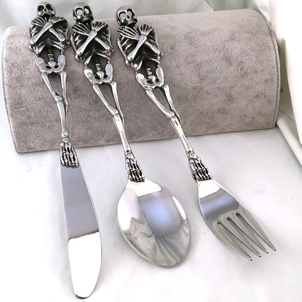 316L Stainless Steel Skull Fork/Spoon/Knife Tableware Cutlery Spoon Fork Sets Dining Forks Bento Accessories Kitchen Goods Garfo