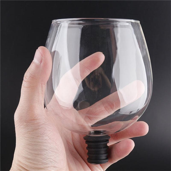 creative barware transparent direct to drinking wine decanter glass cup packed in wine bottle stopper bar tools