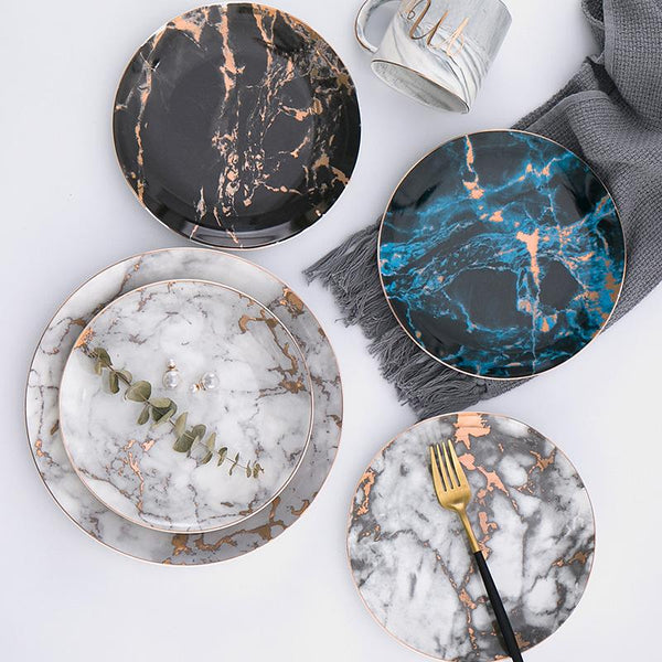 European Style Marble Plates Ceramic Dinner Set Gold Inlay Porcelain Dessert Plate Steak Salad Snack Cake Plates Tableware